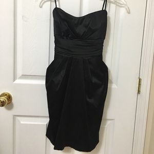 Black Strapless Satin Cocktail Dress